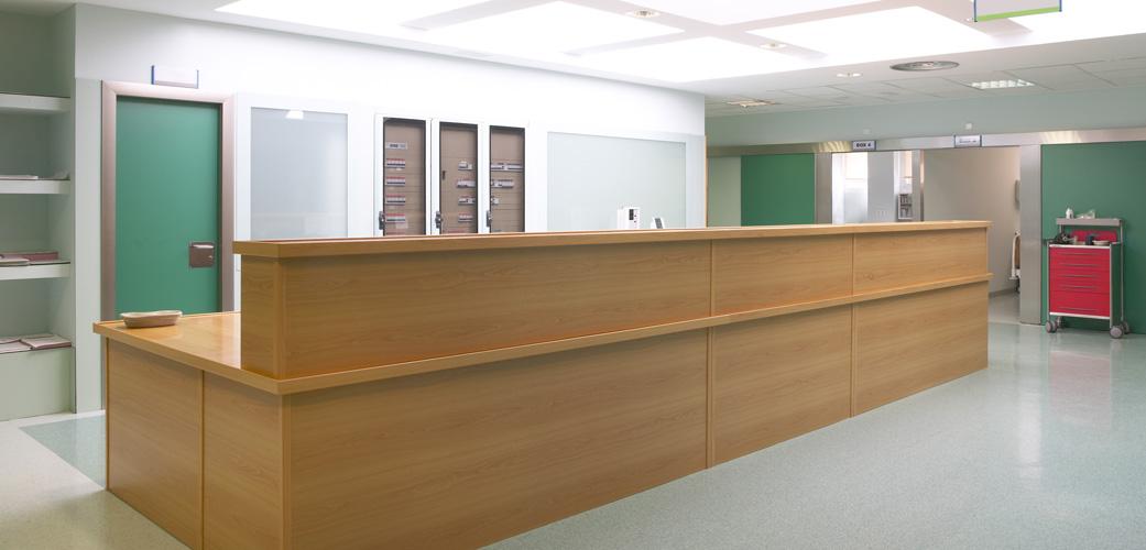 Hospital hallway and nursery station